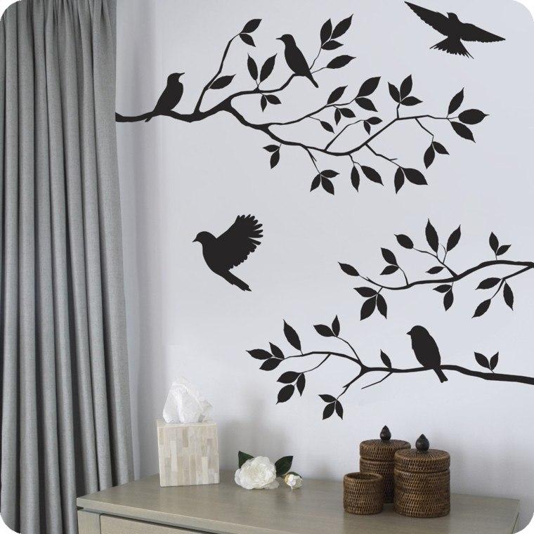 pajaros pegatina cortinas cestos aves