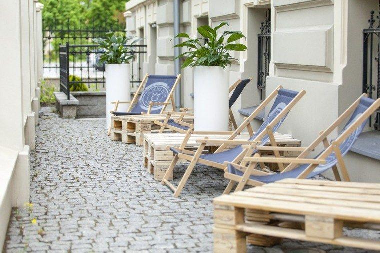 palets sillas plegables madera patio moderno