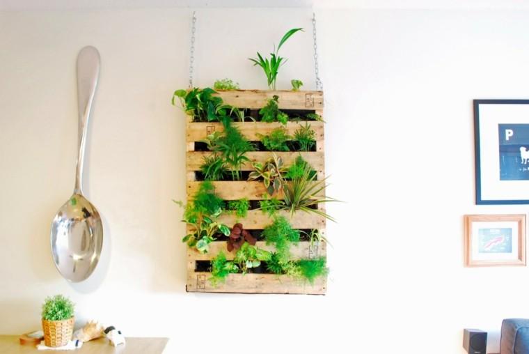 pallet plantas madera cuchara comedor