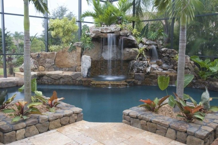 palm trees trees house closed waterfalls