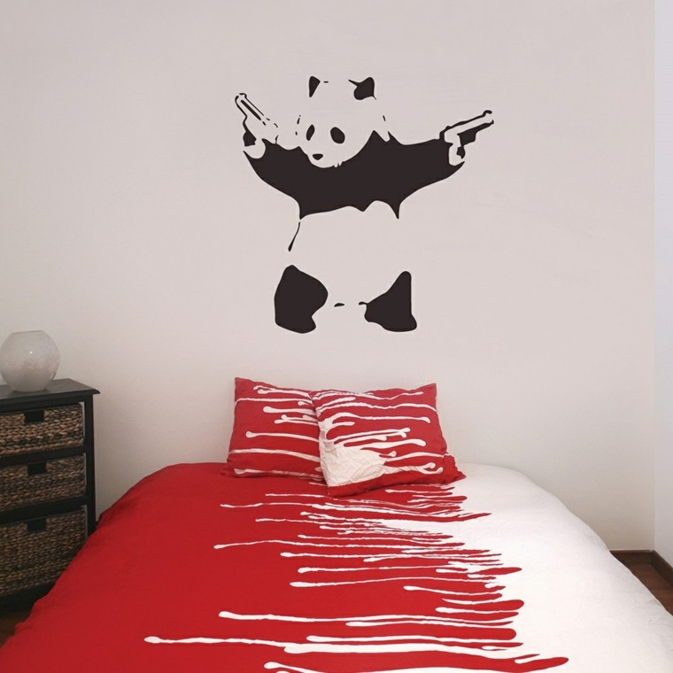 panda dibujada pared dormitorio original ideas