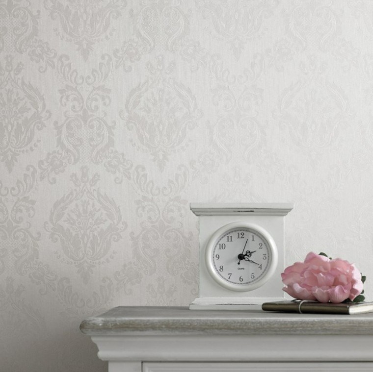 papel pared blanco elegante reloj ideas