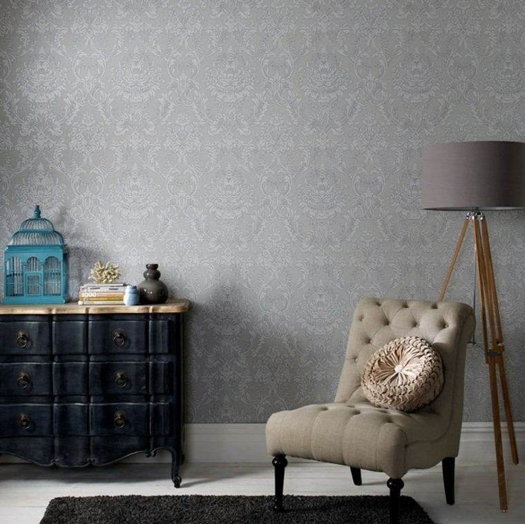 papel pared butaca salon lampara original ideas