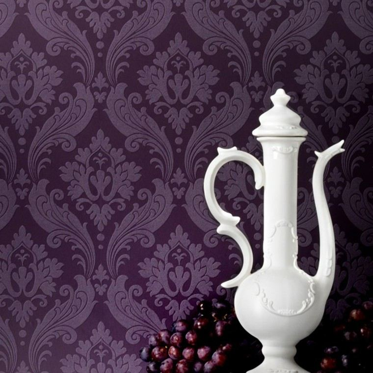 papel pared color purpura oscuro moderno ideas