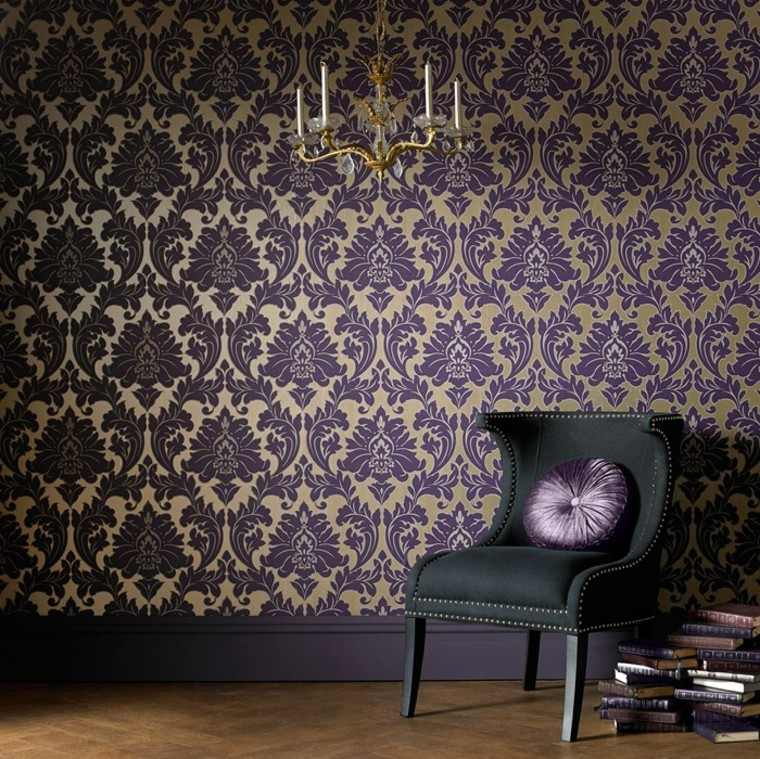 papel pared combinacion purpura oro ideas