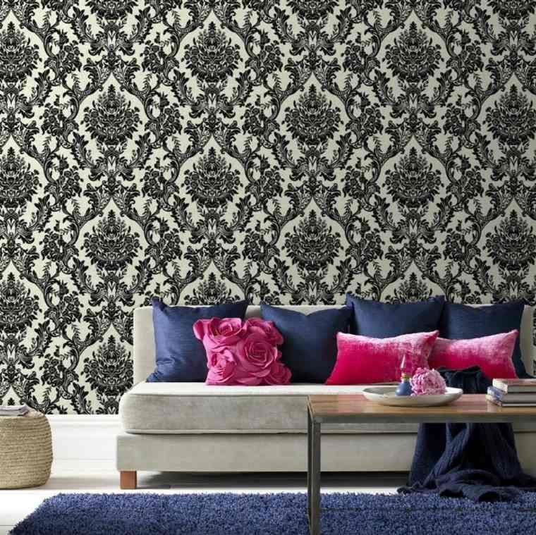 papel pared sofa cojines colores llamativos ideas