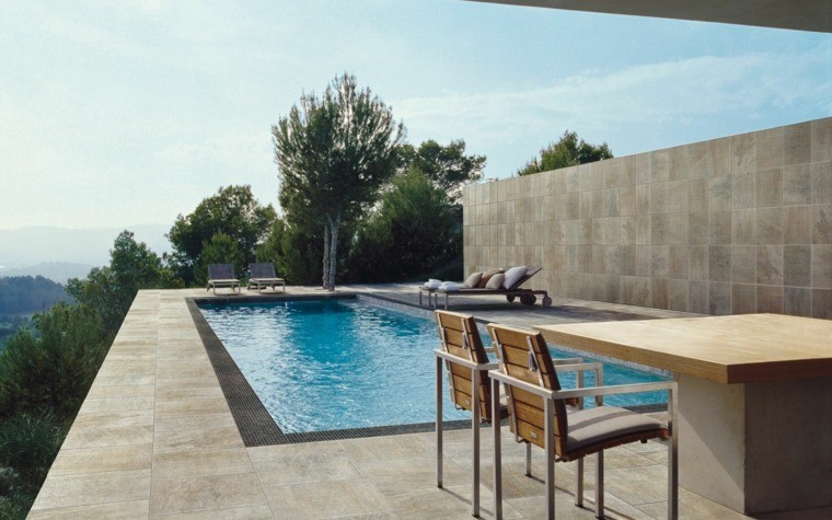 pared alta intimidad jardin piscina ideas