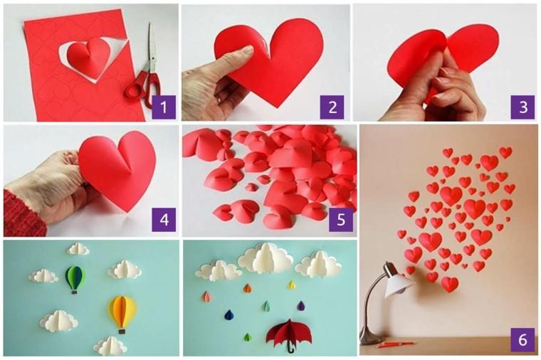 pared corazones rojo diseño decoracion
