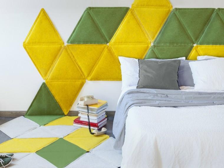 pared dormitorio adolescentes decorada verde amarillo ideas