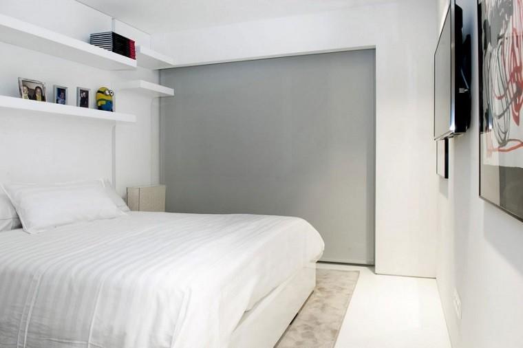 pared color gris dormitorio pequeño