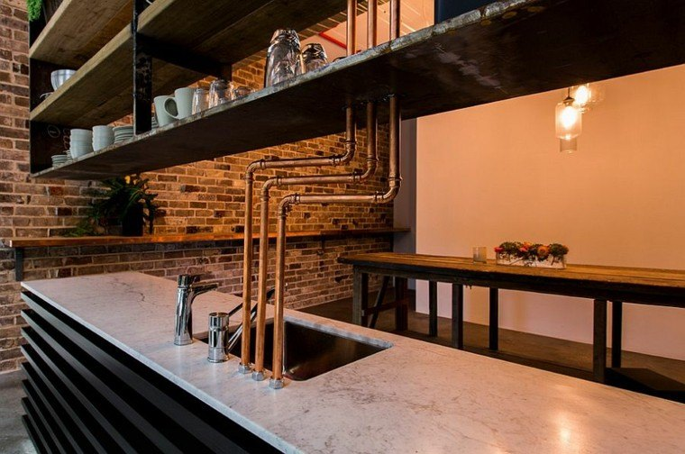 pared ladrillo isla cocina estilo industrial ideas