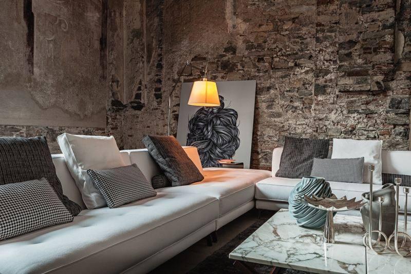 pared piedra mesa encimera granito salon moderno ideas