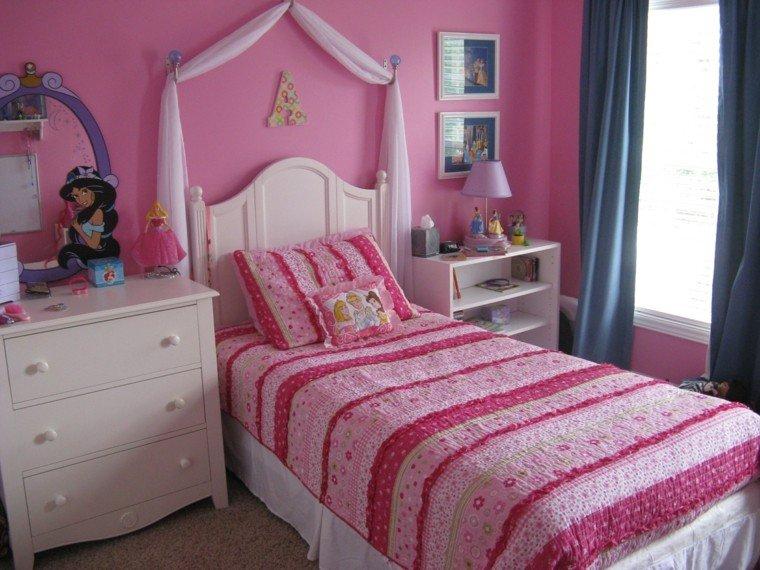 pared rosa habitacion cama dosel ideas