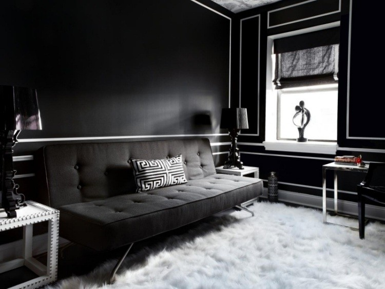 pared sofa color negro salon oscuro ideas