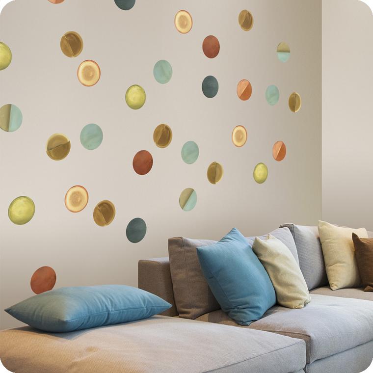 paredes diseño circulos colores cojines