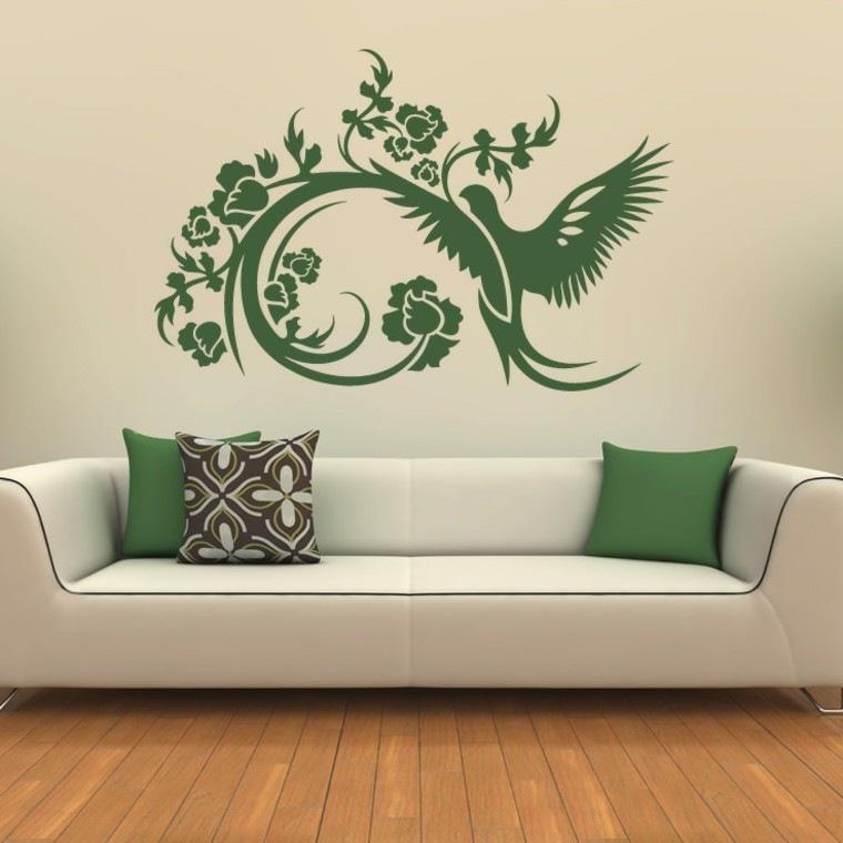 paredes diseño pajaro decoracion verde