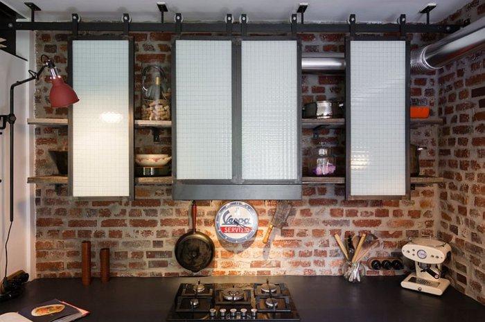 paredes ladrillo visto cocina moderna