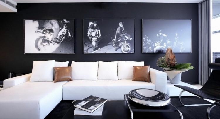 paredes negras sofas blancas salon moderno ideas