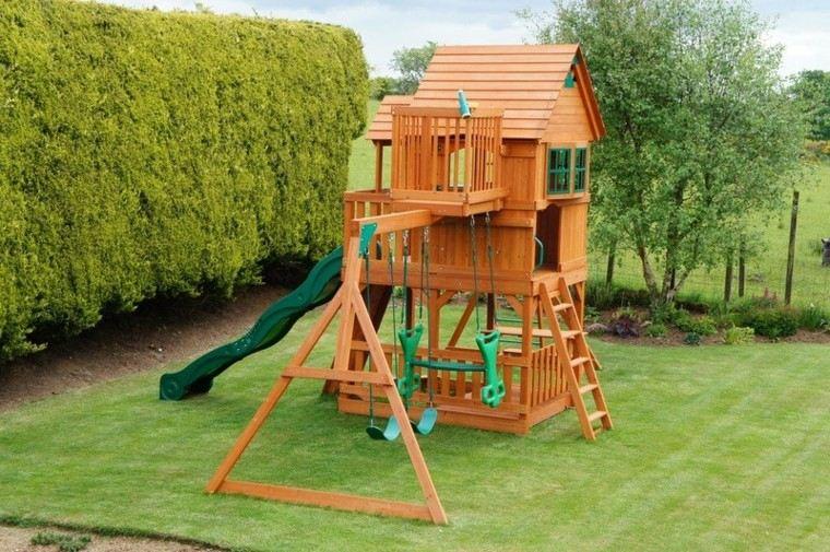 Parques infantiles en el jard n para un verano divertido for Cabanas infantiles en madera