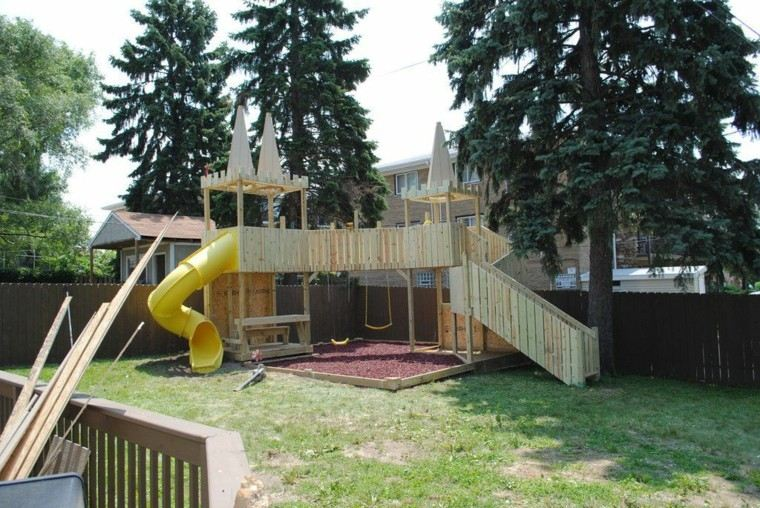 parques infantiles castillo madera torres