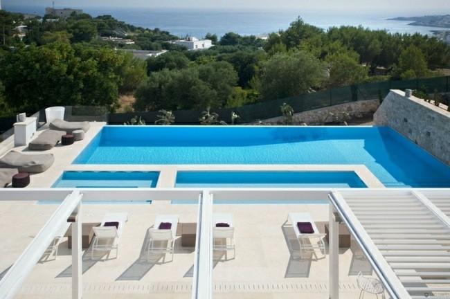 patio mirador borde piscina vistas