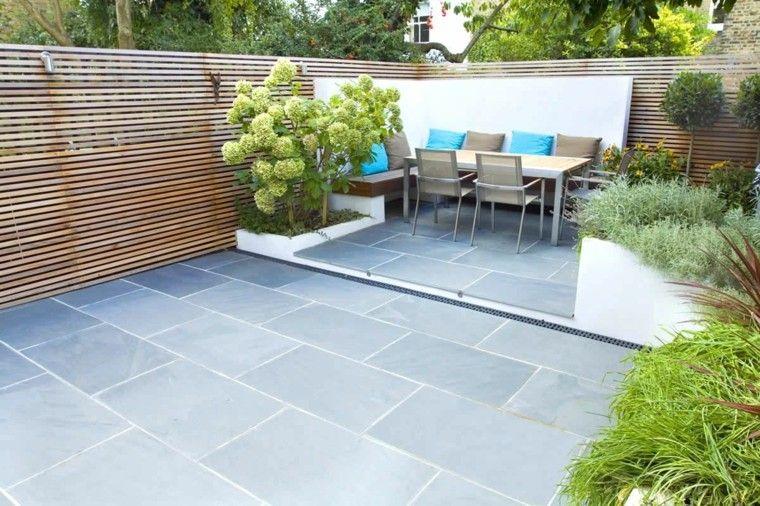 patio diseño moderno cojines azules