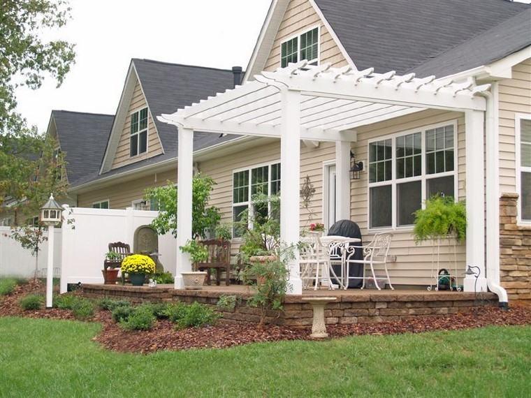 patio pergola madera blanca ideas bonita