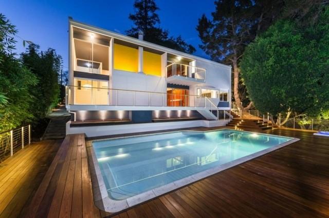 patio piscina plataforma madera teca