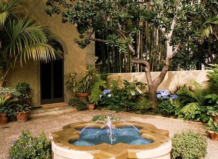 patio plantas fuente agua clasica