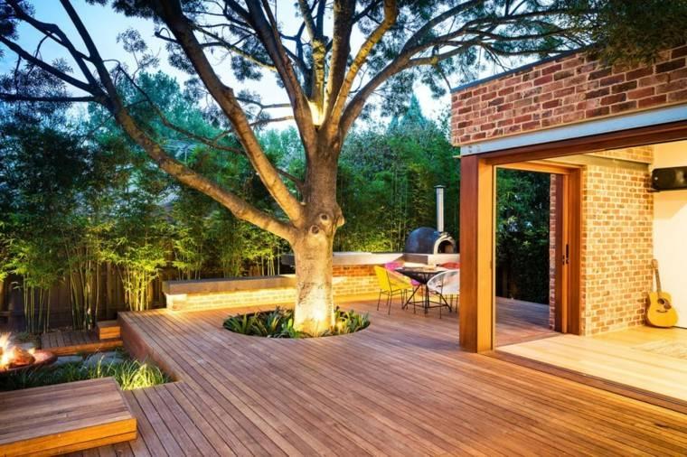 patio terraza plataforma madera guitarra