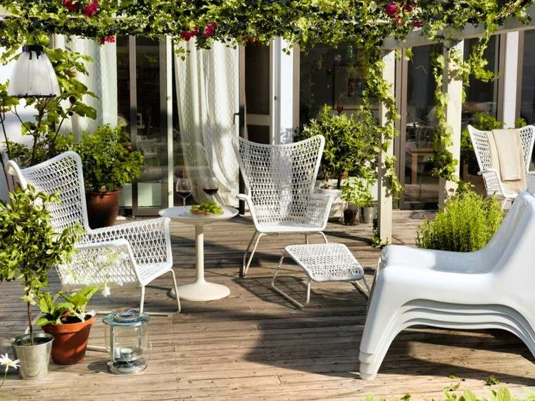 patio trasero decoracion muebles blanco