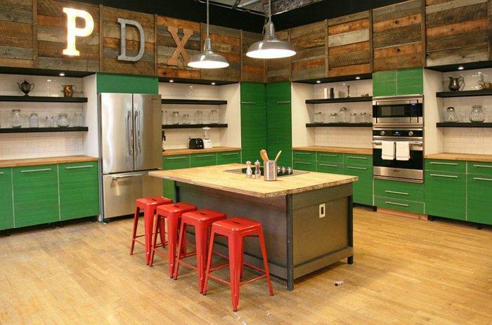 pdx cocina estilo industrial color verde