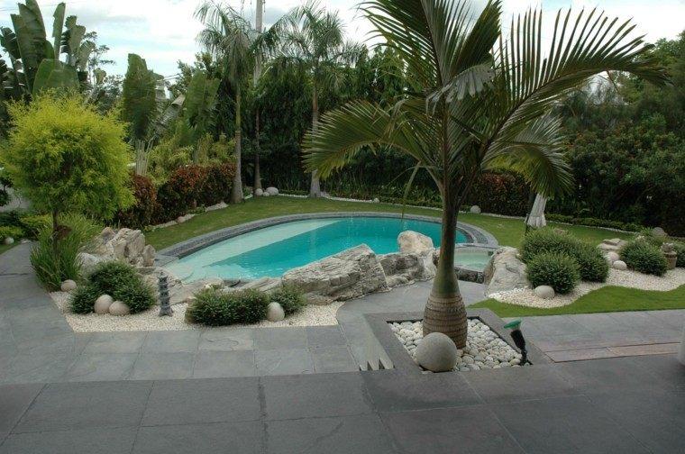 pendiente piscina palmeras patio rocas