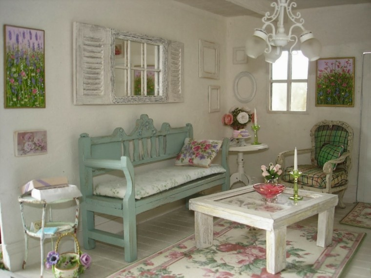 pequeño salon decoracion blanco vintage