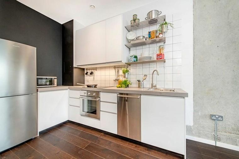 pequena muebles blancos estilo industrial cocina ideas