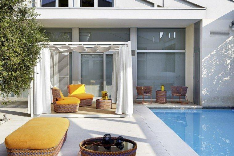 pergola blanca aluminio madera patio ideas