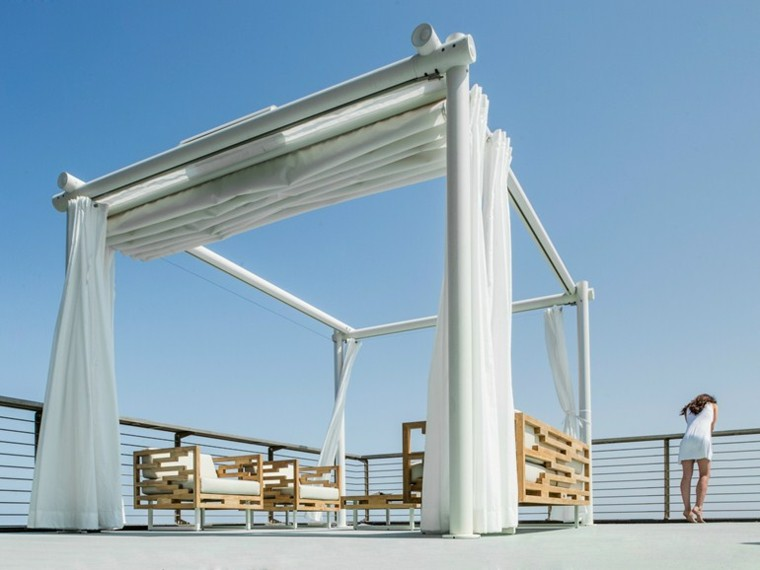 pergola modern design white curtains
