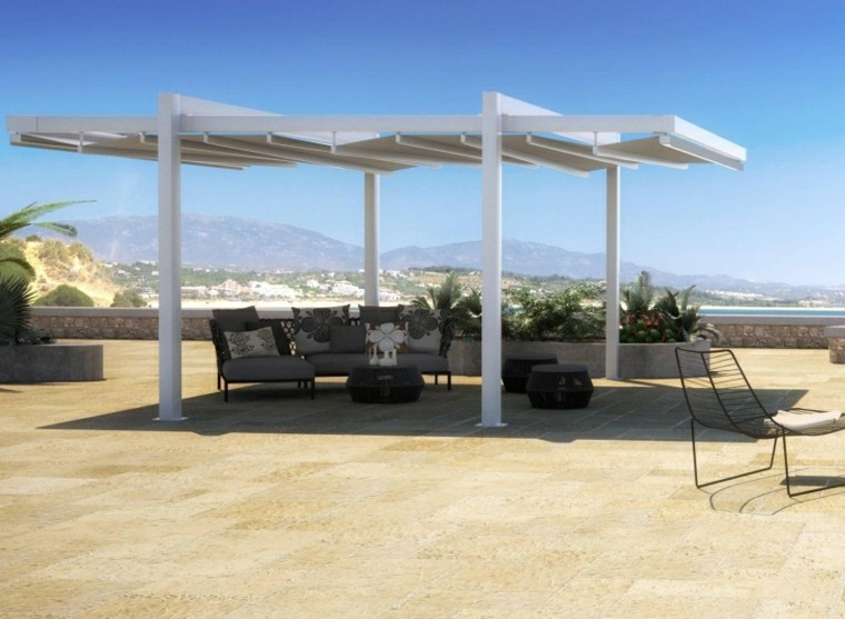 pergola grande color blanco muebles negros ideas