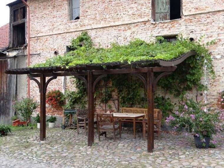 pergola jardin pavimento planta trepadoras ideas