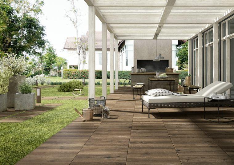 pergola madera blanca jardin ideas