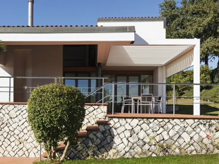 pergola madera blanca terraza casa ideas