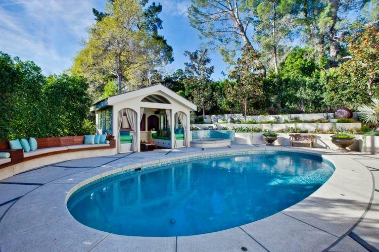 días pergola preciosa jardin piscina banco ideas