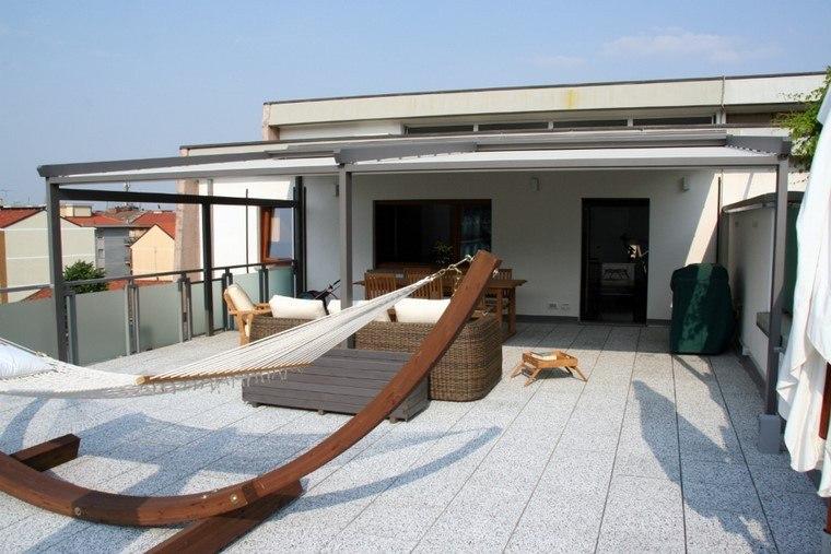 pérgolas jardines terrazas acero muebles comodos ideas