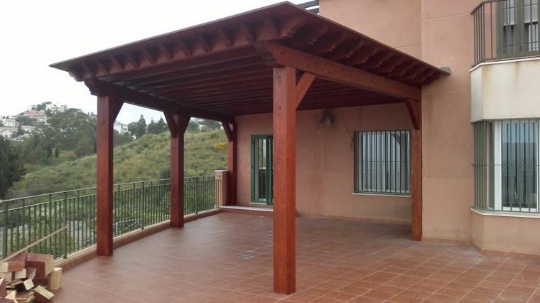 P rgolas jardines terrazas con estilo muy modernas for Cobertizo de madera tratada