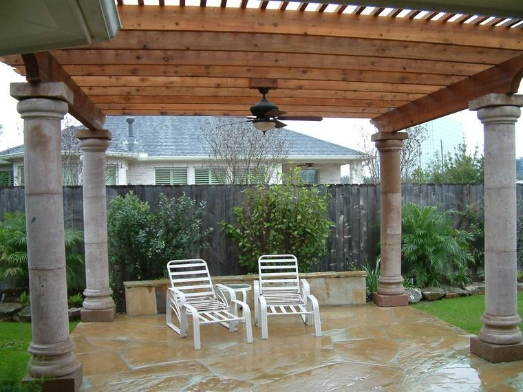 pergolas jardines terrazas madera columnas hormigon ideas