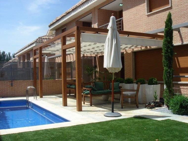 pérgolas jardines terrazas madera tela blanca ideas