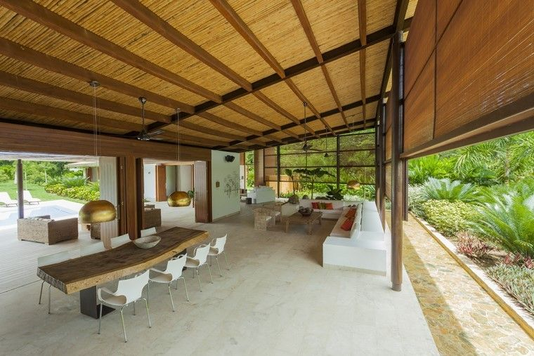 pergolas jardines terrazas mesa madera grande ideas