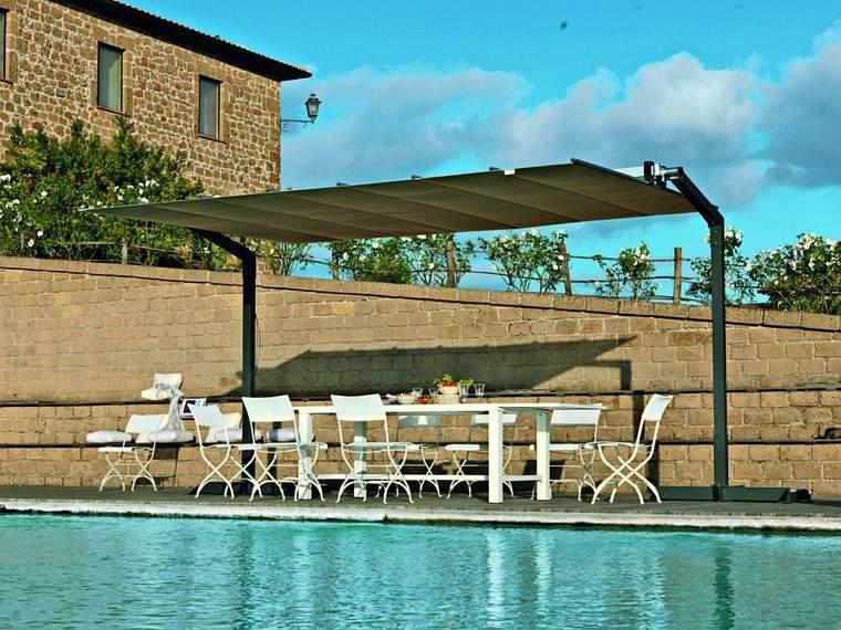 pérgolas jardines terrazas piscina muebles blancos ideas