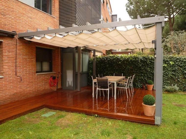 pérgolas jardines terrazas suelo madera cesped ideas