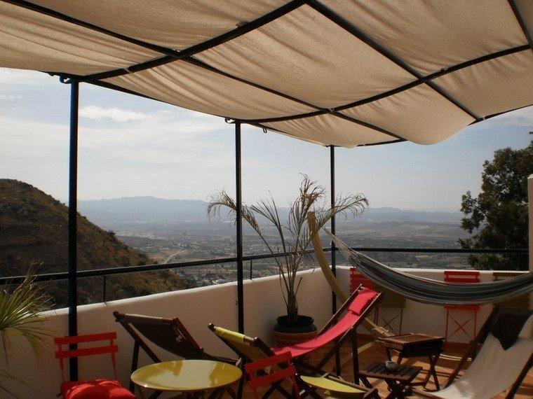 pérgolas jardines terrazas tela protege sol ideas